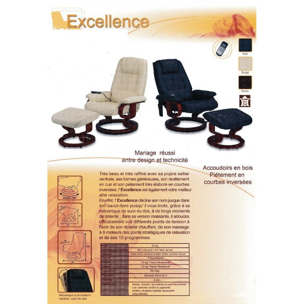 EXCEL fauteuil relax avec repose pieds, cuir beige