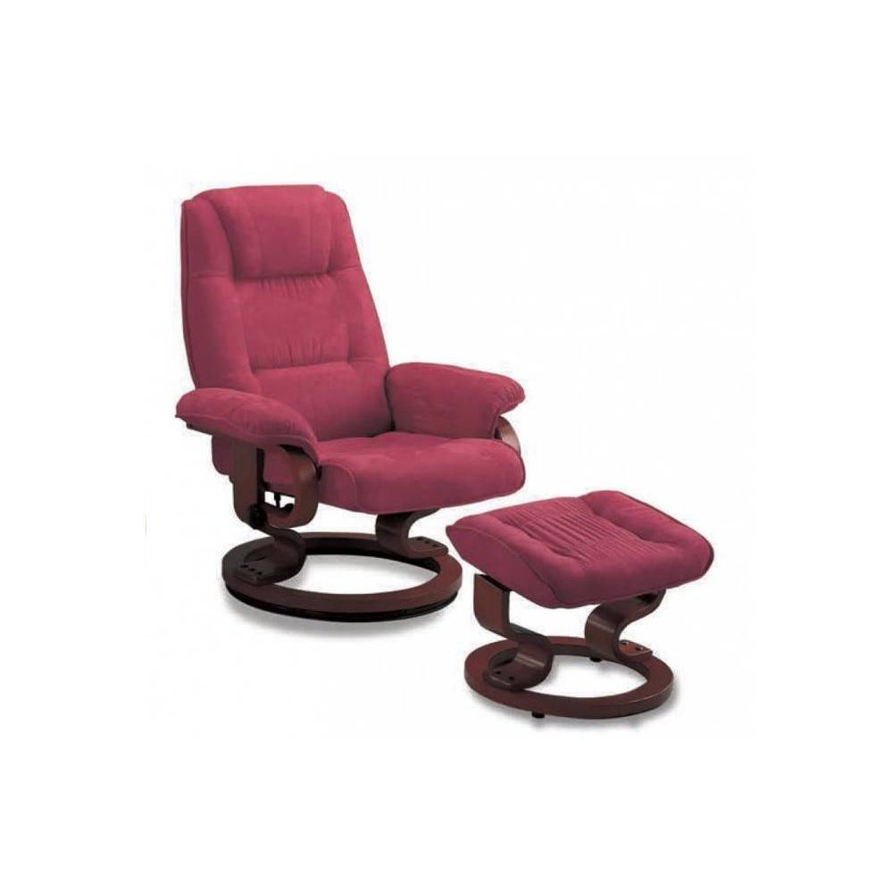 EXCEL fauteuil relax avec repose pieds, microfibre framboise