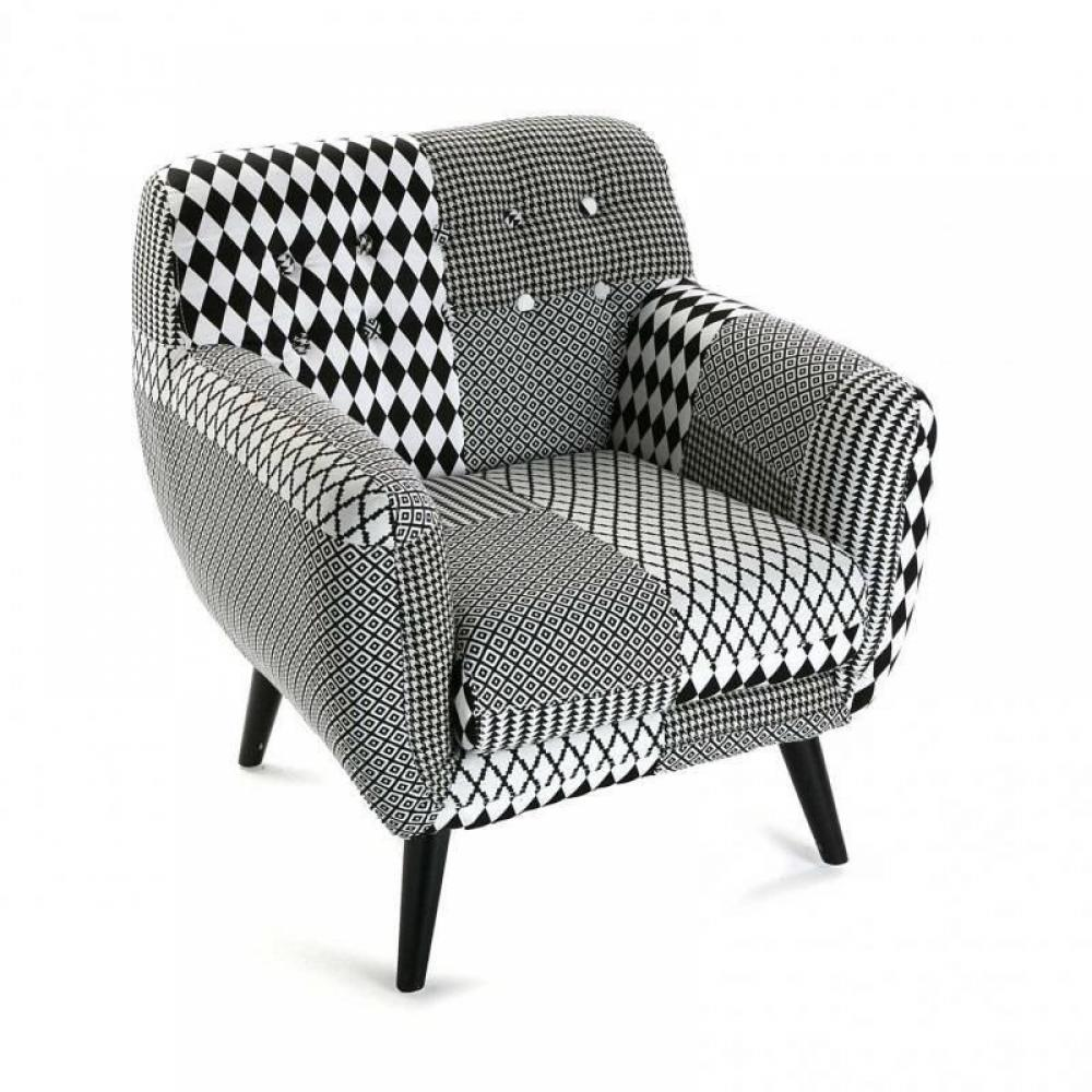 fauteuils design canap s et convertibles fauteuil poulle motif pied de poule noir blanc inside75. Black Bedroom Furniture Sets. Home Design Ideas