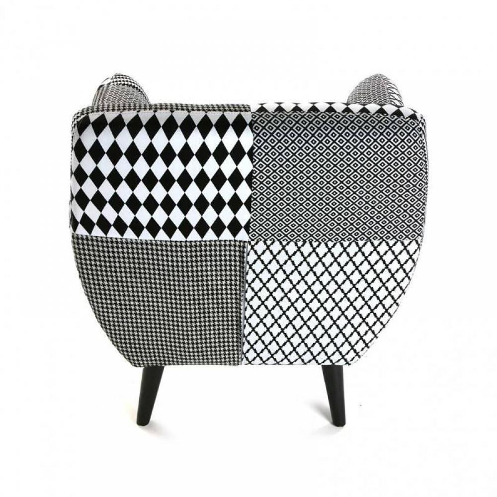 fauteuils et poufs canap s et convertibles fauteuil poulle motif pied de poule noir blanc. Black Bedroom Furniture Sets. Home Design Ideas