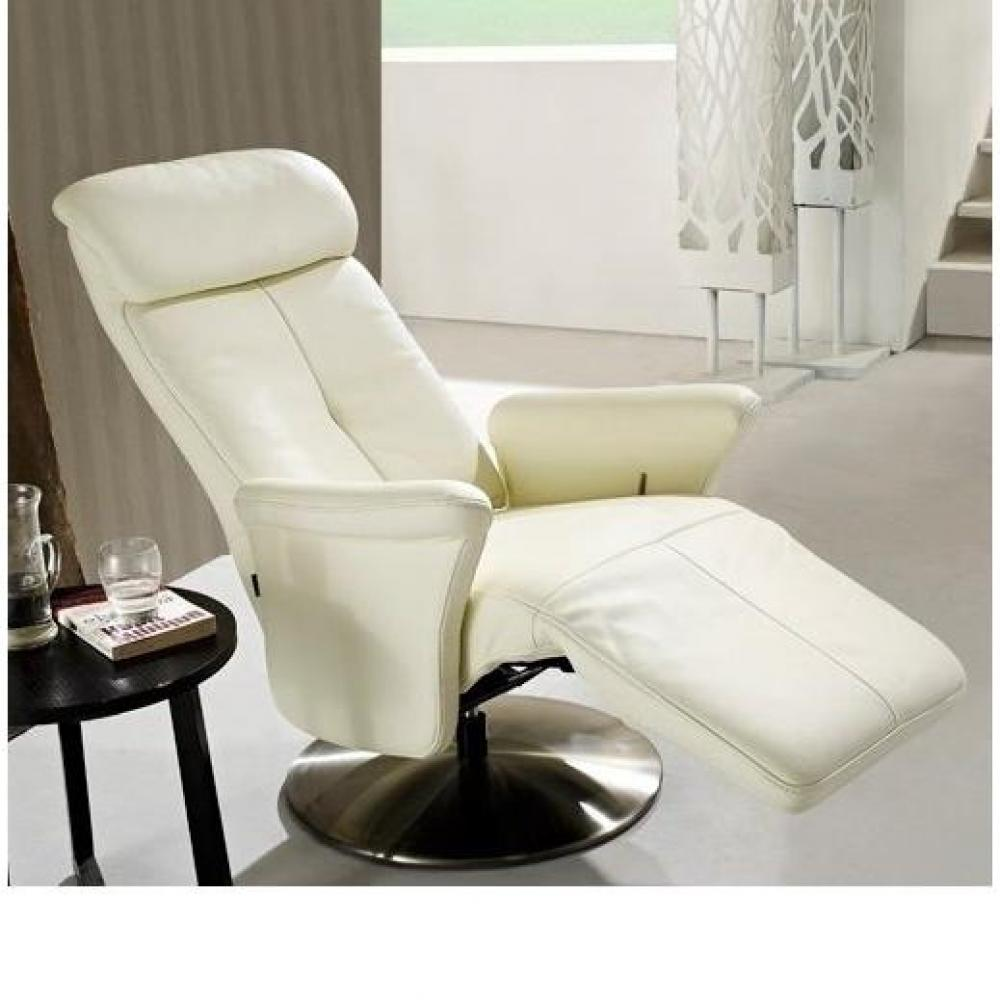fauteuils relax et design au meilleur prix adam fauteuil relax cuir vachette blanc inside75. Black Bedroom Furniture Sets. Home Design Ideas