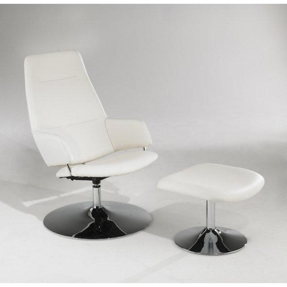 fauteuils relax et design au meilleur prix fauteuil relax avec pouf ottoman en cuir blanc. Black Bedroom Furniture Sets. Home Design Ideas