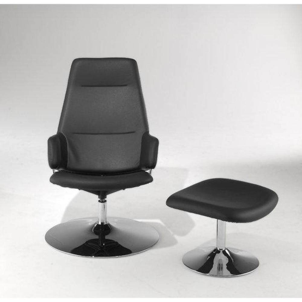 fauteuils relax et design au meilleur prix fauteuil relax avec pouf ottoman en cuir noir inside75. Black Bedroom Furniture Sets. Home Design Ideas