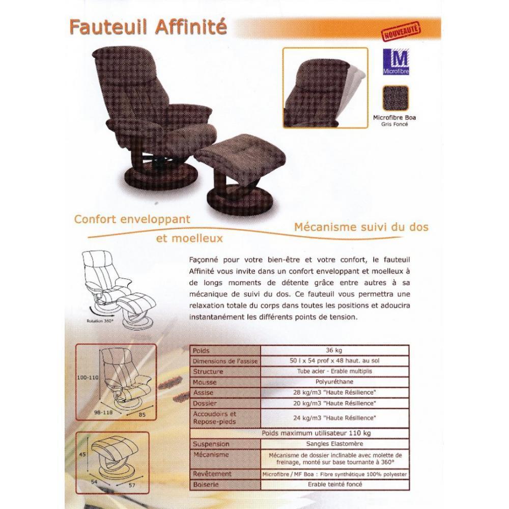 AFFINITY fauteuil relax avec repose pieds, microfibre BOA gris foncé