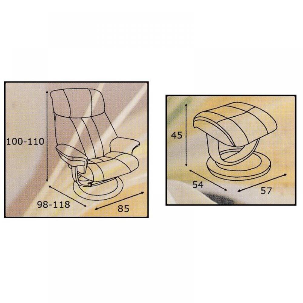 AFFINITY fauteuil relax avec repose pieds, microfibre BOA marron cendré