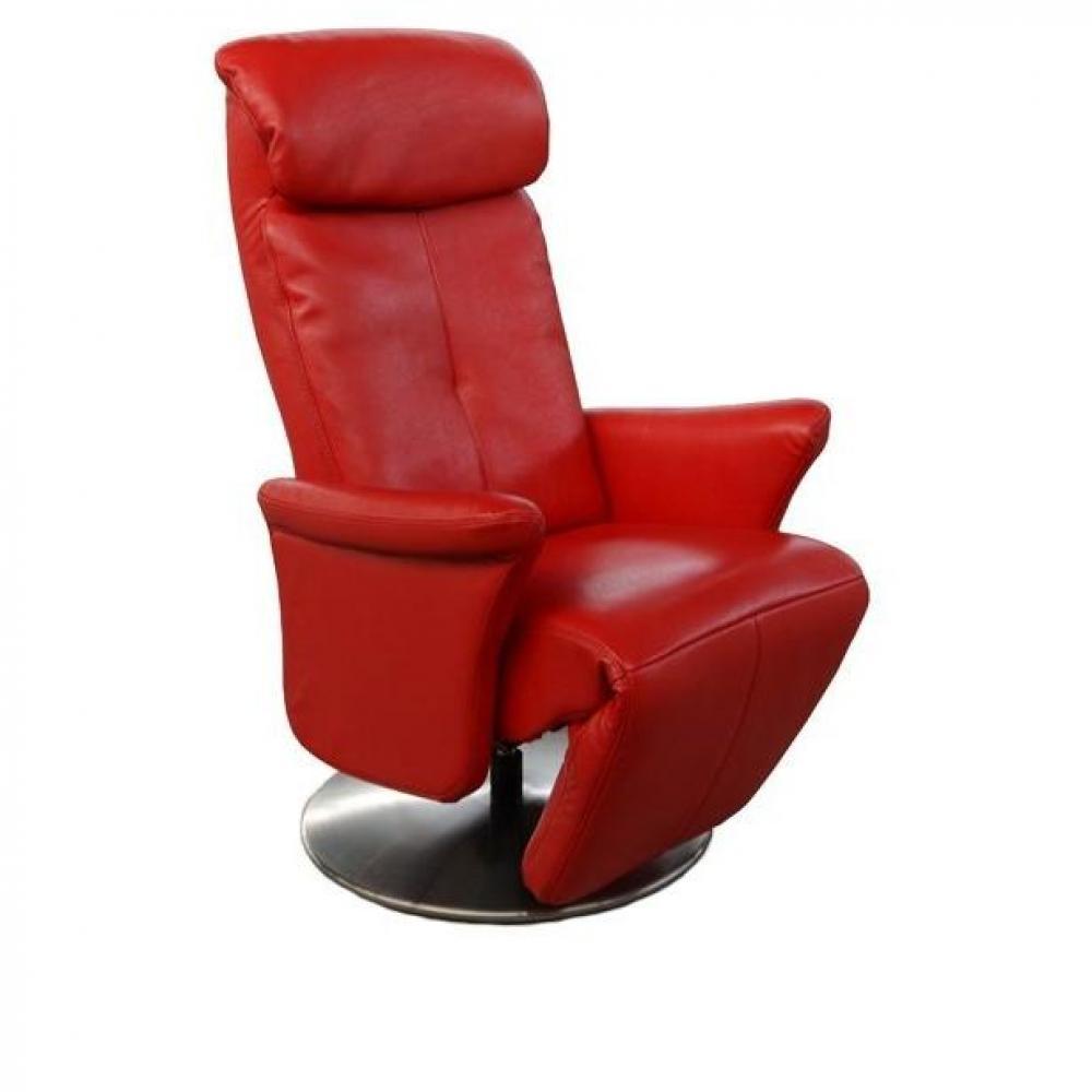 fauteuils relax et design au meilleur prix adam fauteuil relax cuir vachette rouge inside75. Black Bedroom Furniture Sets. Home Design Ideas