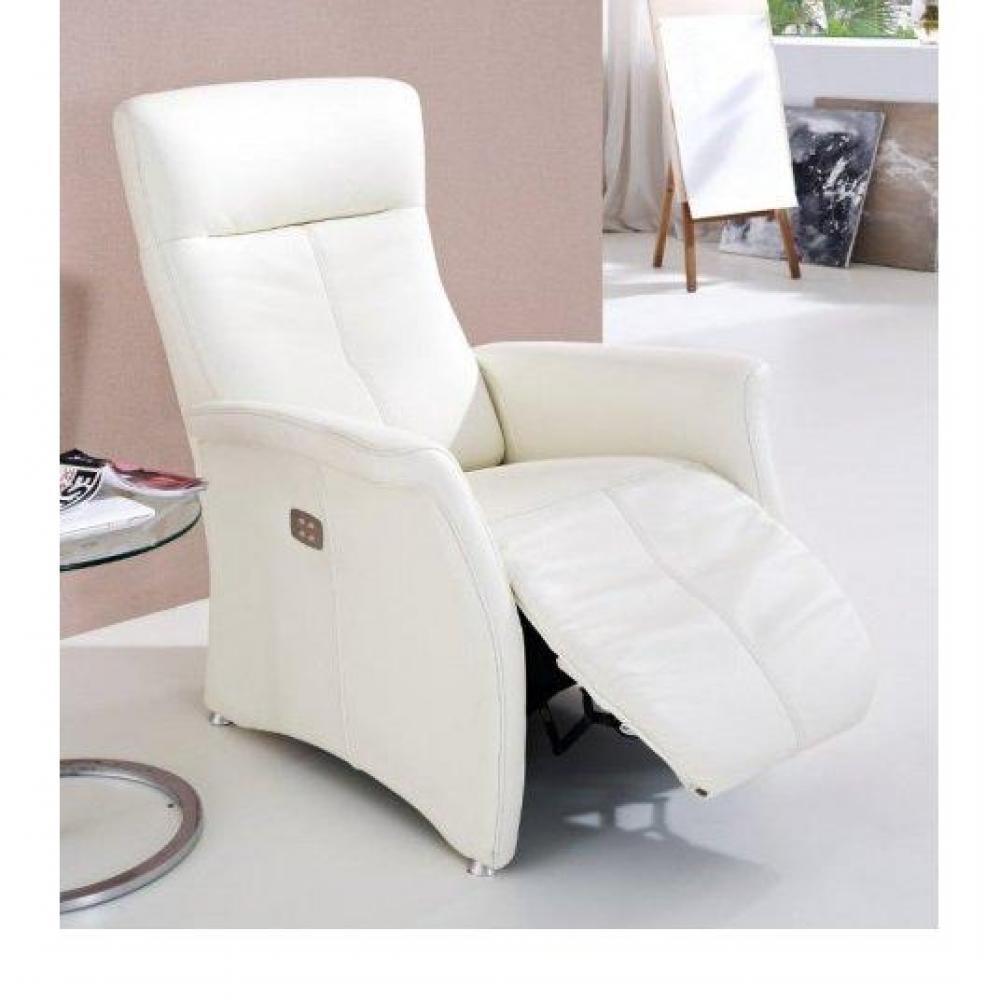 KINGSTON  fauteuil relax électrique, cuir vachette blanc