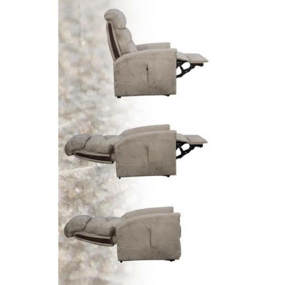 ORIGIN fauteuil relax et releveur électrique (bi-moteur) microfibre taupe