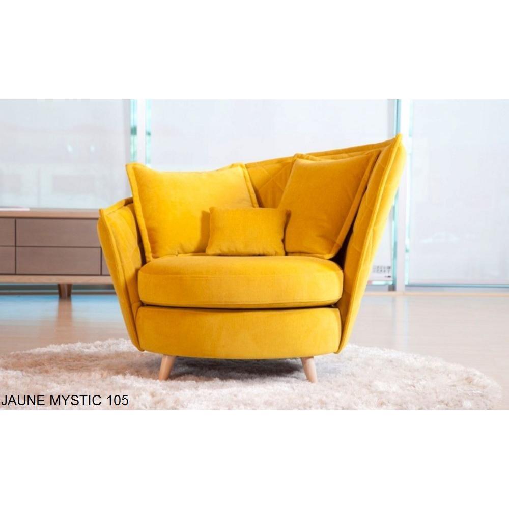 fama fauteuil relax pivotant volta style scandinave - Fauteuil Jaune Scandinave