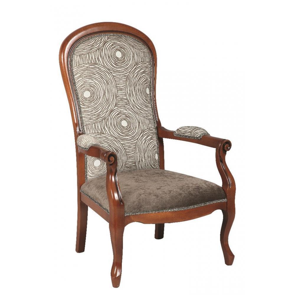 fauteuils et poufs canap s et convertibles fauteuil voltaire en h tre et tissu motifs rond. Black Bedroom Furniture Sets. Home Design Ideas