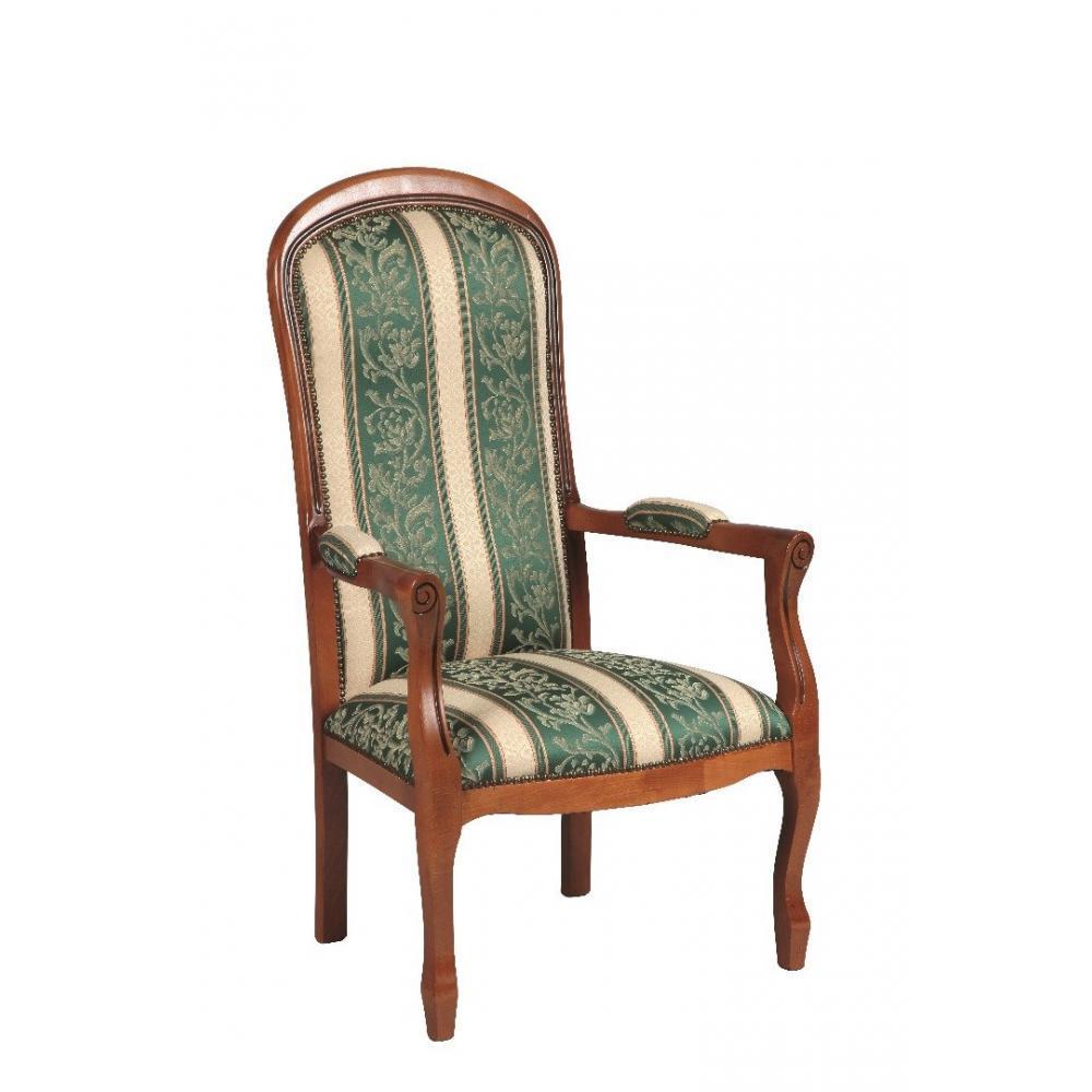 fauteuil voltaire merisier et tissu vert ebay. Black Bedroom Furniture Sets. Home Design Ideas