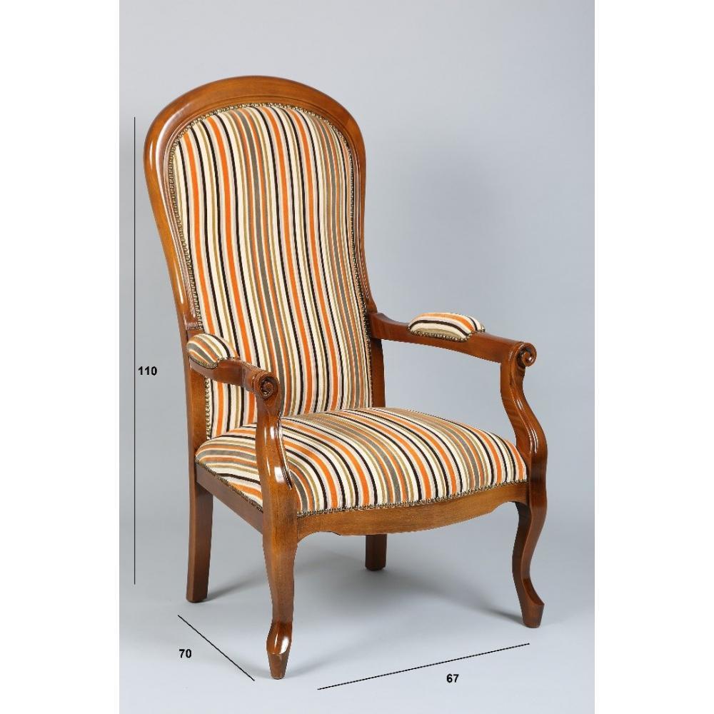 fauteuils design canap s et convertibles fauteuil voltaire noyer et tissu rayures orange. Black Bedroom Furniture Sets. Home Design Ideas