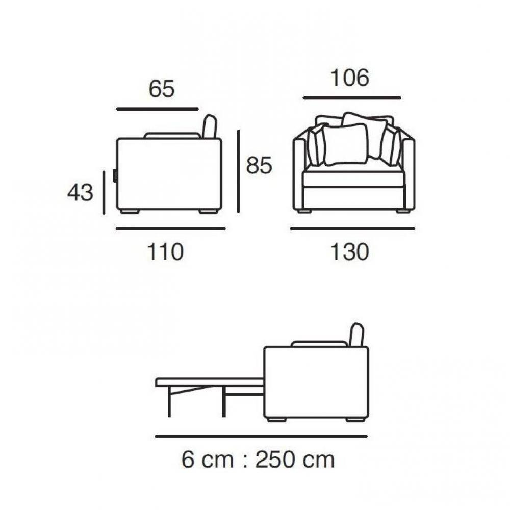 Fauteuil XL convertible CHICAGO couchage 83*182*6 cm Ouverture RAPIDO