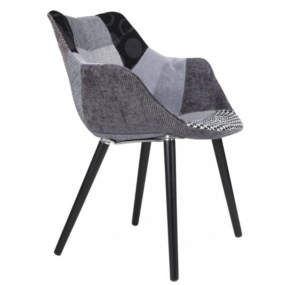 ZUIVER Fauteuil  TWELVE patchwork gris et noir.