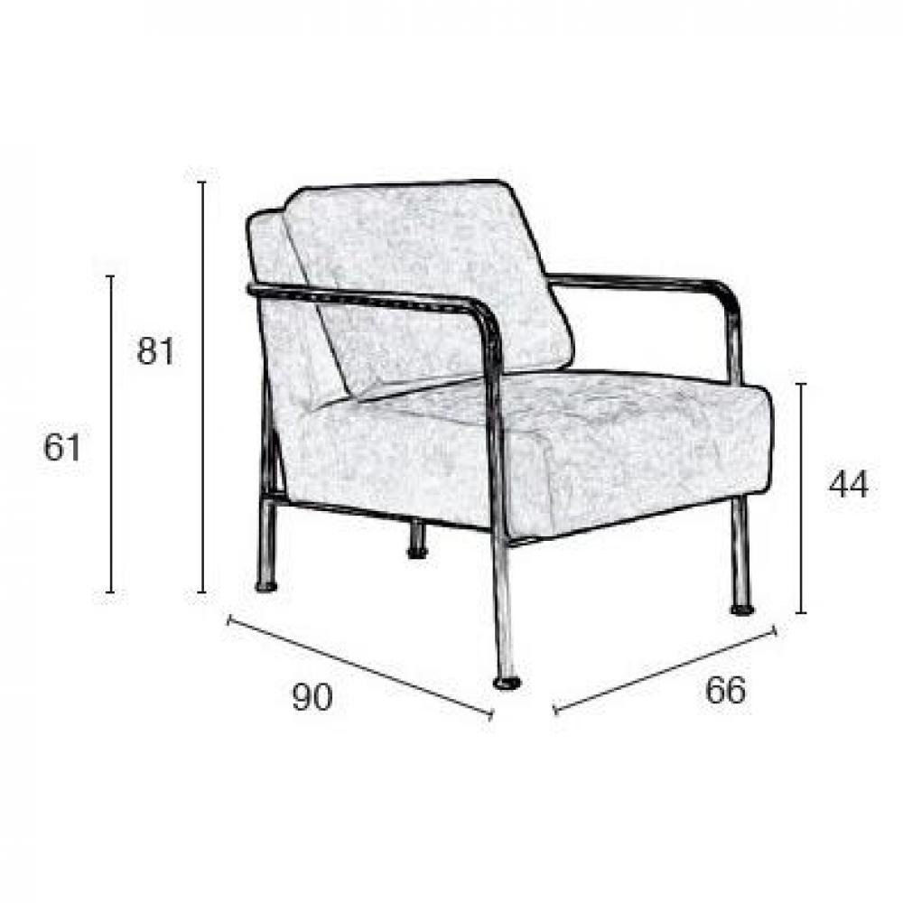 ZUIVER Fauteuil X-BANG, tissu gris.
