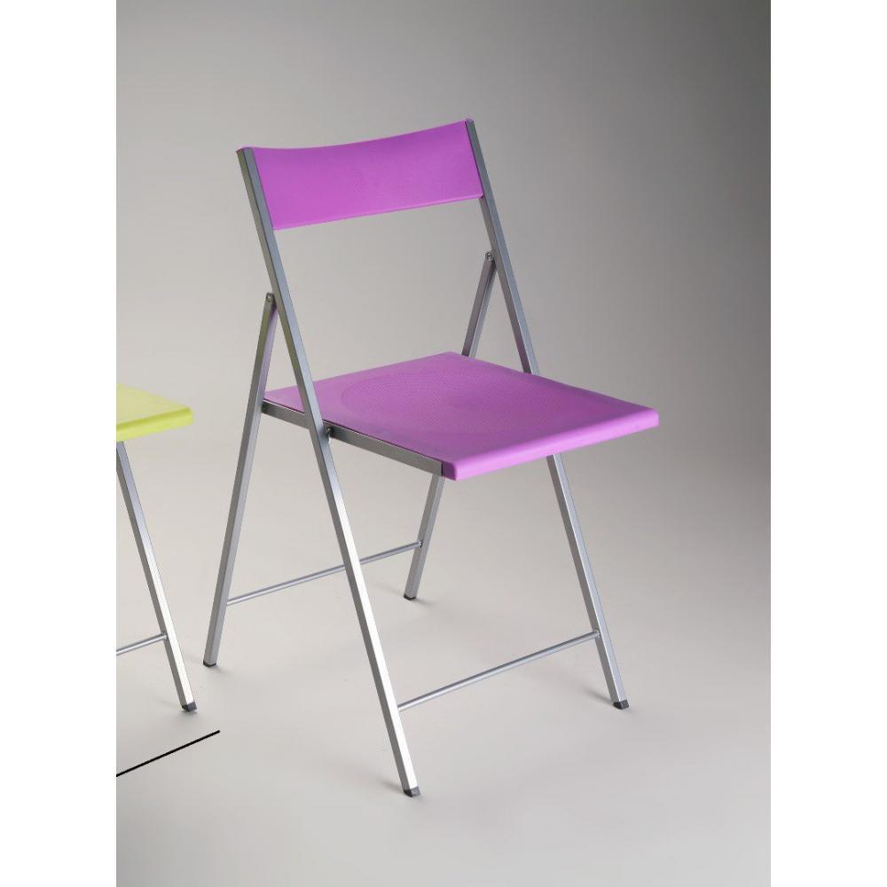 FLEX Chaise Pliante En Plexi Mauve Et Pietement Acier