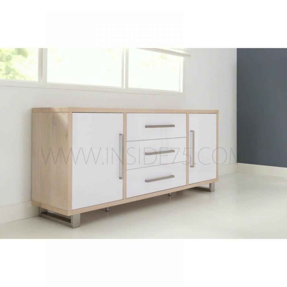 buffets meubles et rangements flora buffet en bois laqu blanc brillant avec portes tiroirs. Black Bedroom Furniture Sets. Home Design Ideas
