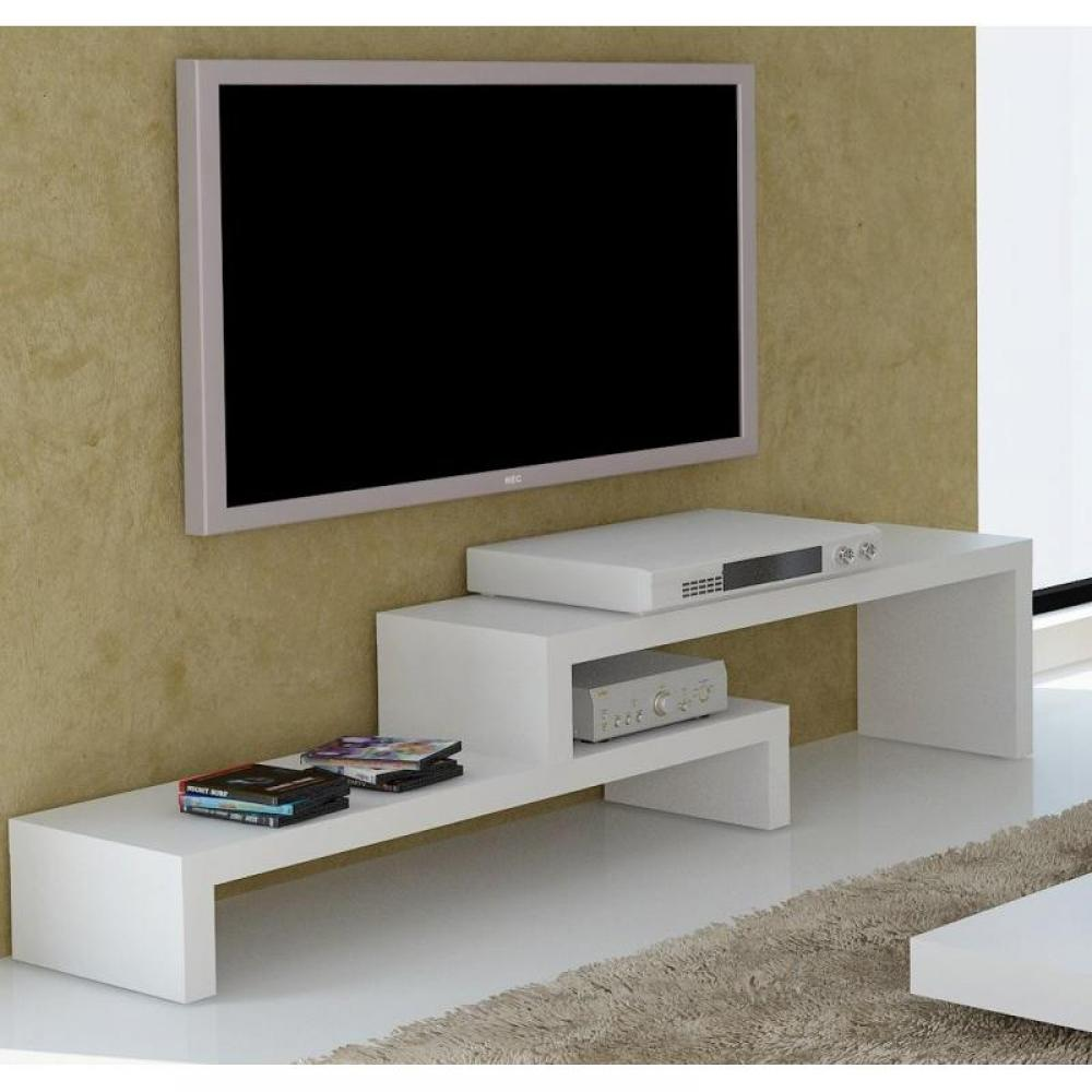 meubles tv meubles et rangements temahome cliff 120 meuble tv laque blanc mat design inside75. Black Bedroom Furniture Sets. Home Design Ideas