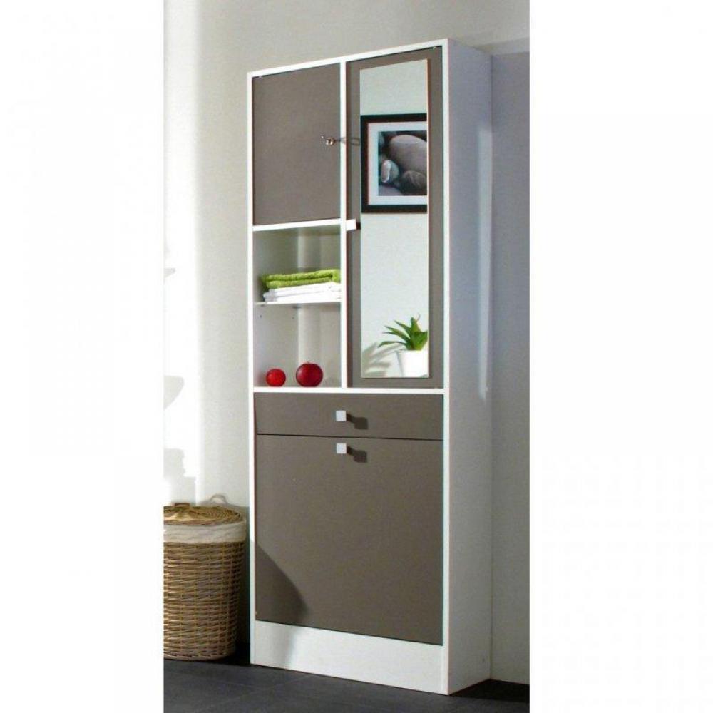 armoire et bac linge blanc taupe mat avec placards et tiroirs de rangements