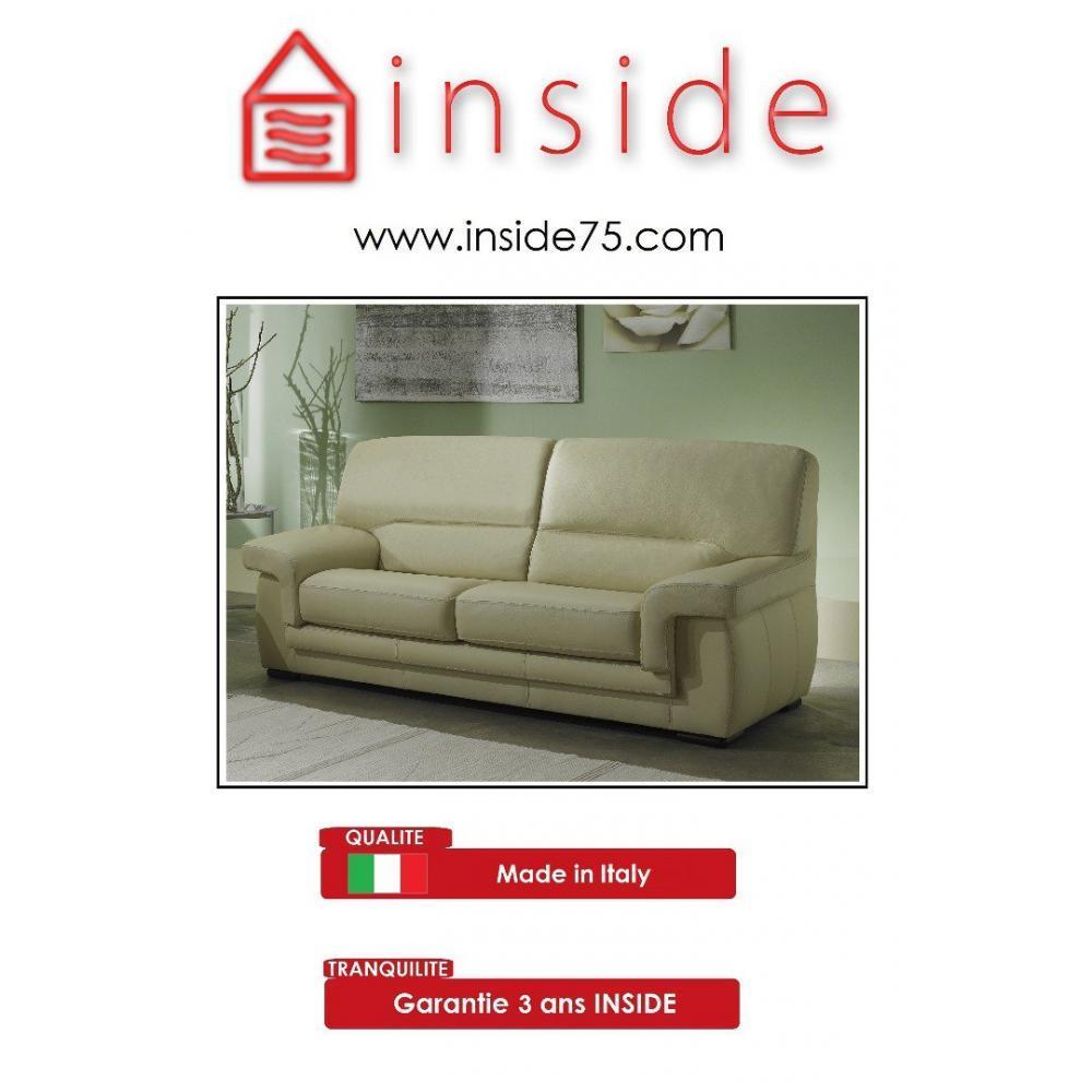 Canap fixe confortable design au meilleur prix helios - Canape cuir beige 3 places ...