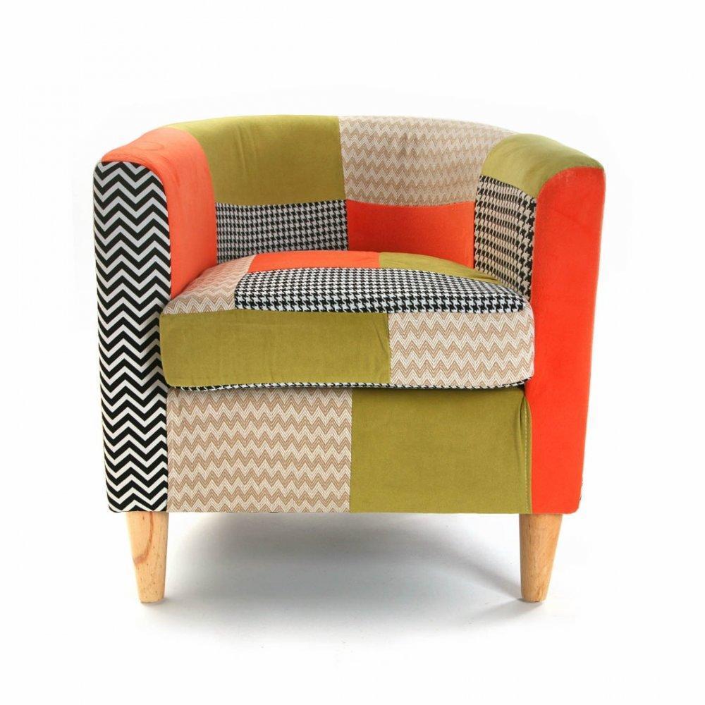 fauteuils design canap s et convertibles fauteuil houndstooth patchwork avec accoudoirs inside75. Black Bedroom Furniture Sets. Home Design Ideas