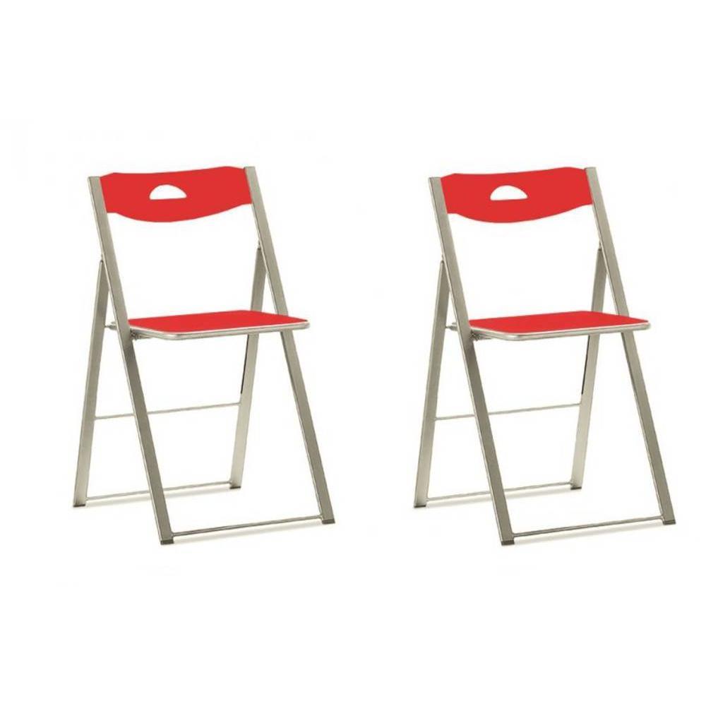 Chaises pliantes design au meilleur prix lots de 2 - Chaise pliante rouge ...