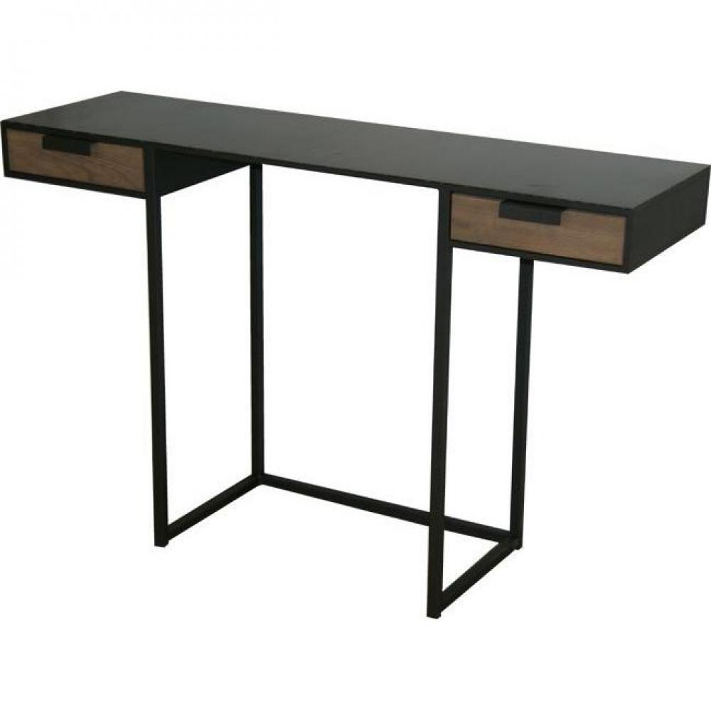 bureaux meubles et rangements industry console bureau en acier et ch ne avec 2 tiroirs. Black Bedroom Furniture Sets. Home Design Ideas