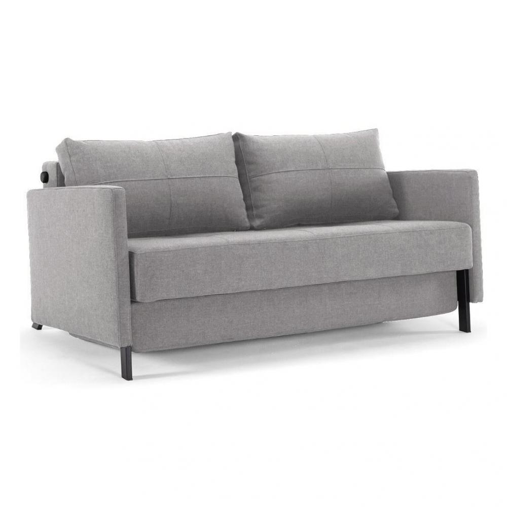 INNOVATION LIVING  Canapé design avec accoudoirs CUBED 02 ARMS convertible lit 200*140 cm tissu Twist Granite
