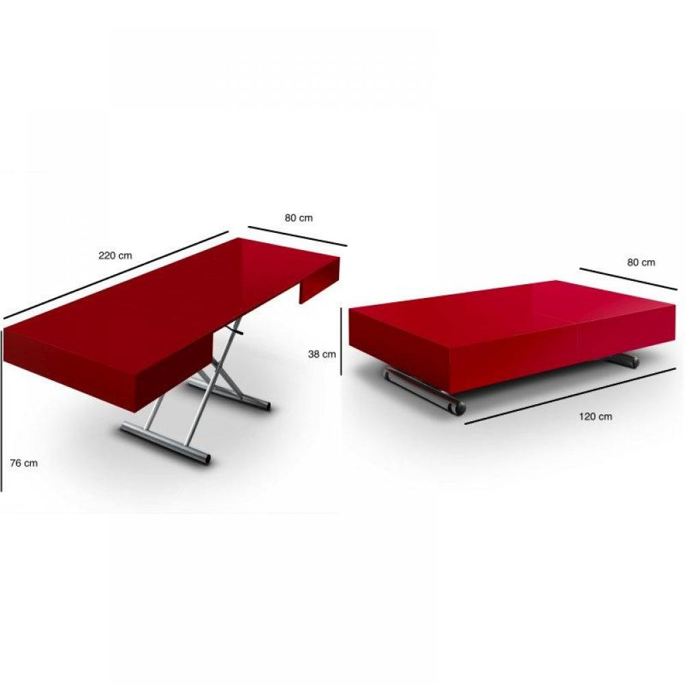 Tables relevables meubles et rangements table relevable extensible itaca rouge 12 couverts - Tables relevables extensibles ...