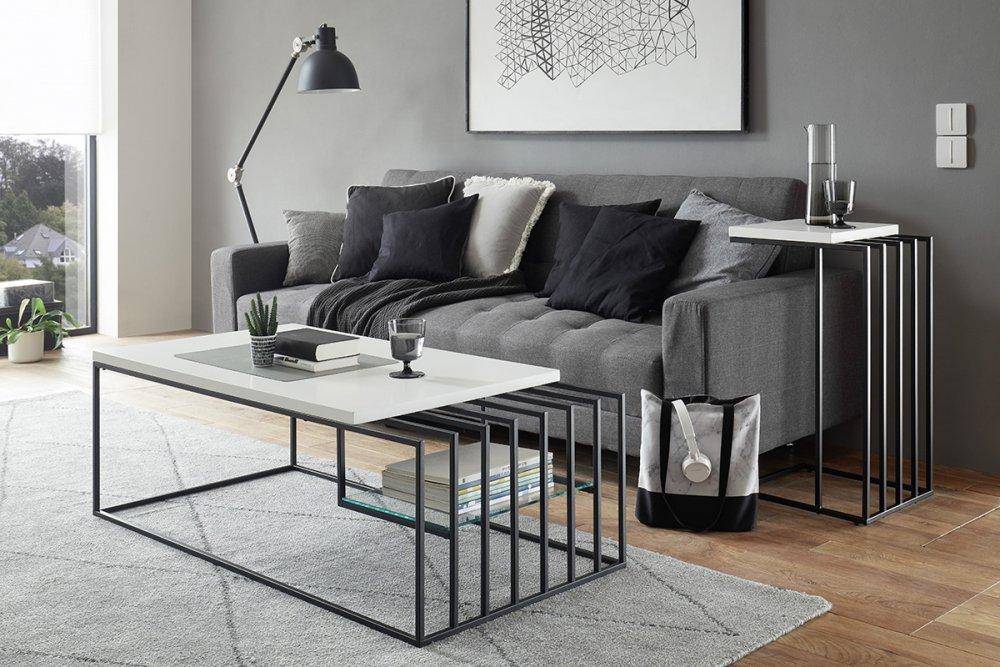 Bout de canapé JULLY blanc mat et métal noir