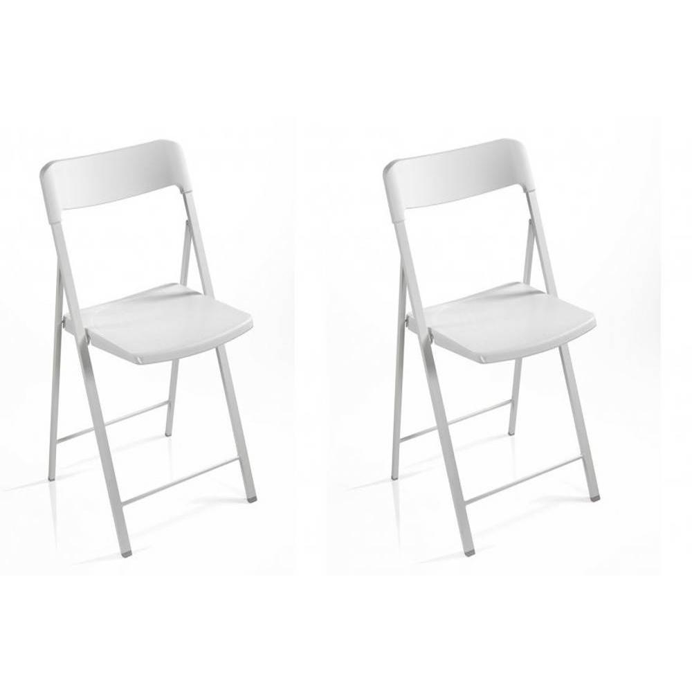 Lot de 2 chaises pliantes KULLY blanches
