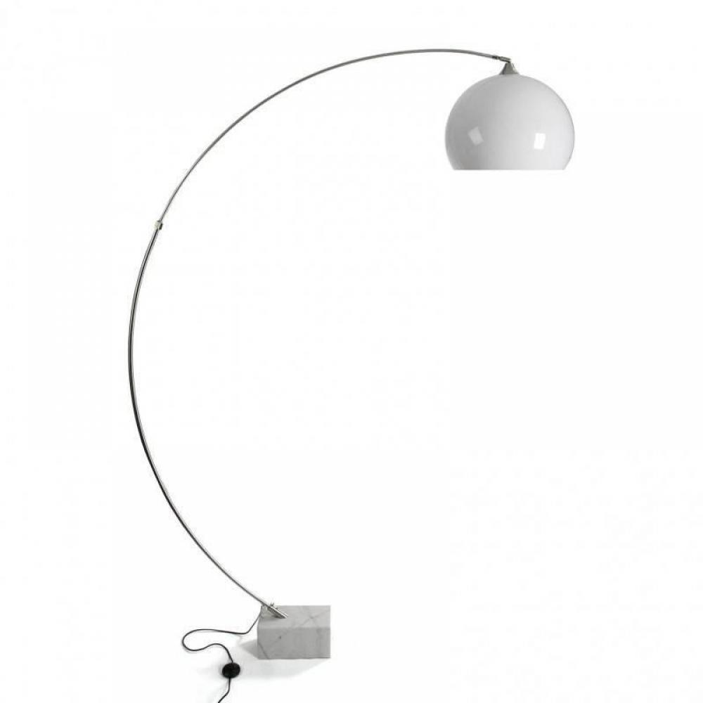 Lampadaire BRAME design blanc pied marbre