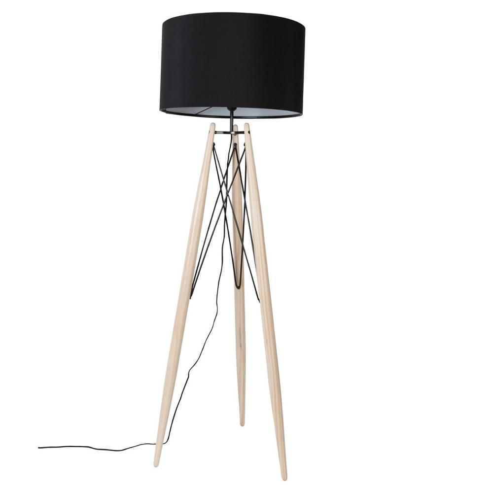 WHITE LABEL LIVING lampadaire EIFFEL noir piétement pin massif
