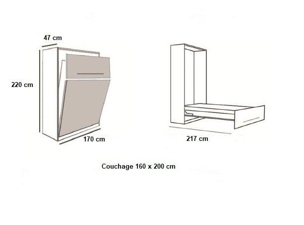 Armoire lit LAUSANNE Couchage 160 x 200 cm profondeur 47 cm