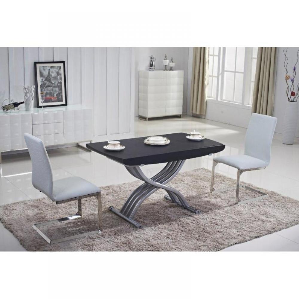 Table relevable LIFT WOOD wengé foncé,  extensible en table repas 8 couverts.