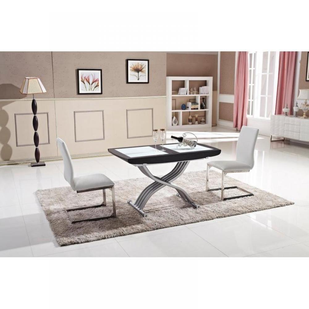 Table relevable LIFT GLASS wengé, verre blanc,  extensible en table repas 8 couverts.