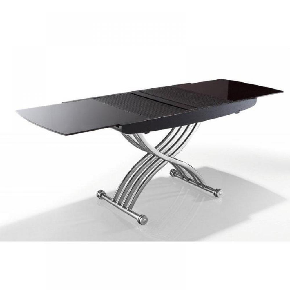 Exceptional Table Basse Pliante Ikea #12: Table Basse LIFT CHROME GLASS Café Relevable Extensible En Table Repas 10  Couverts.