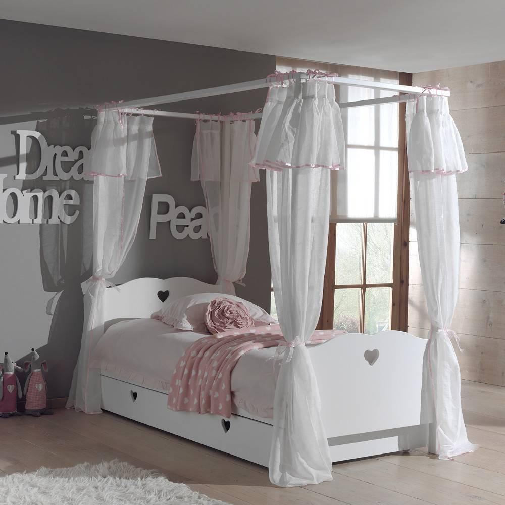 lits chambre literie lit gigogne baldaquin mensa blanc avec voilage inside75. Black Bedroom Furniture Sets. Home Design Ideas