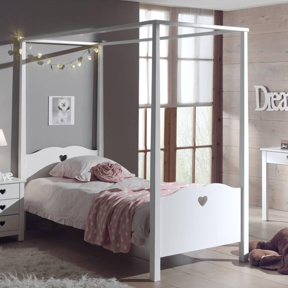 Lits chambre literie lit gigogne baldaquin mensa blanc avec voilage inside75 - Chambre lit baldaquin ...