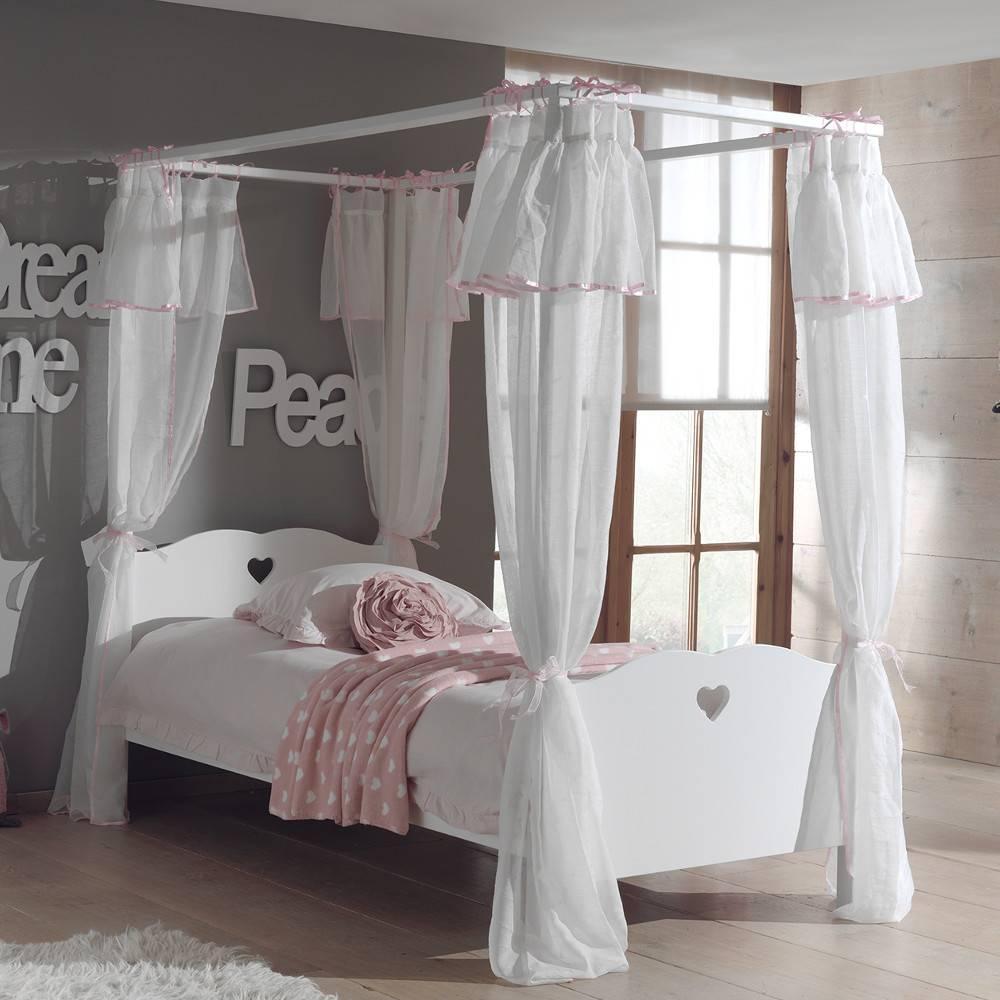 lits chambre literie lit baldaquin mensa blanc avec voilage inside75. Black Bedroom Furniture Sets. Home Design Ideas