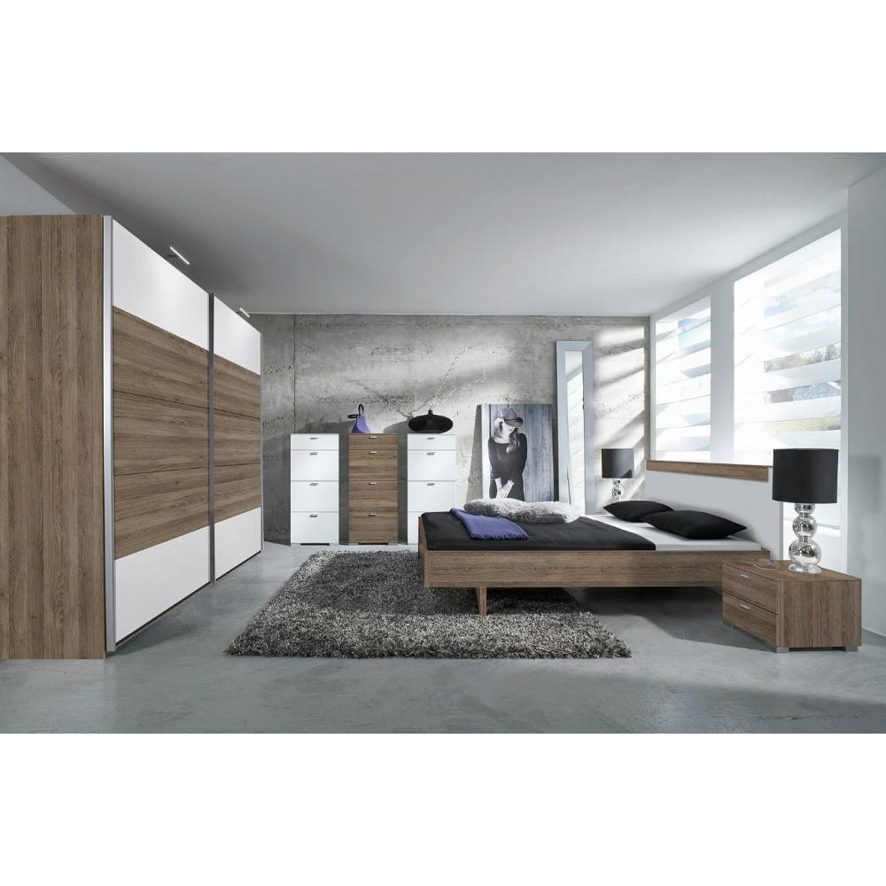 lits chambre literie lit design basic couchage 160 200cm chene fonce et blanc mat inside75. Black Bedroom Furniture Sets. Home Design Ideas