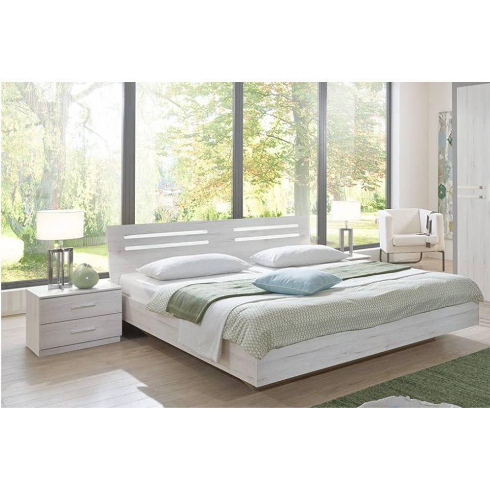 lit design idaho avec 2 chevets ch ne blanc ebay. Black Bedroom Furniture Sets. Home Design Ideas