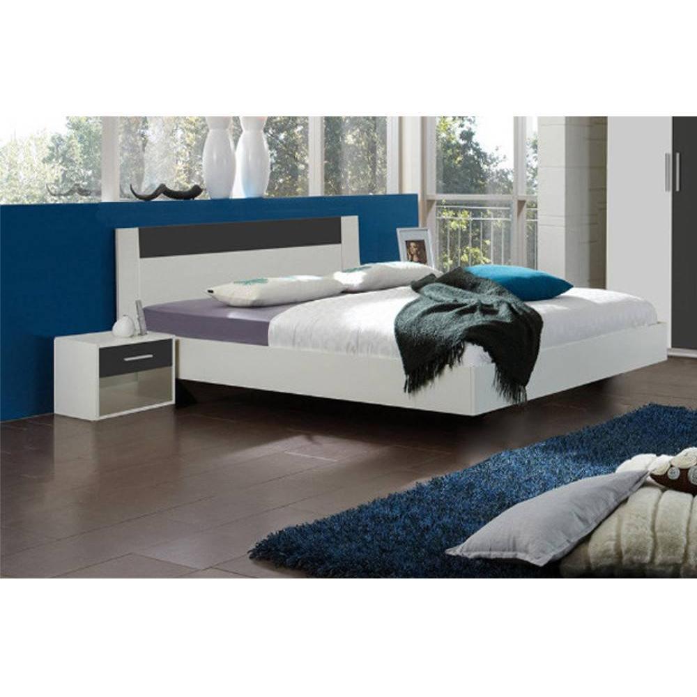 lits chambre literie lit thalia 140 200cm avec 2 chevets blanc anthracite inside75. Black Bedroom Furniture Sets. Home Design Ideas