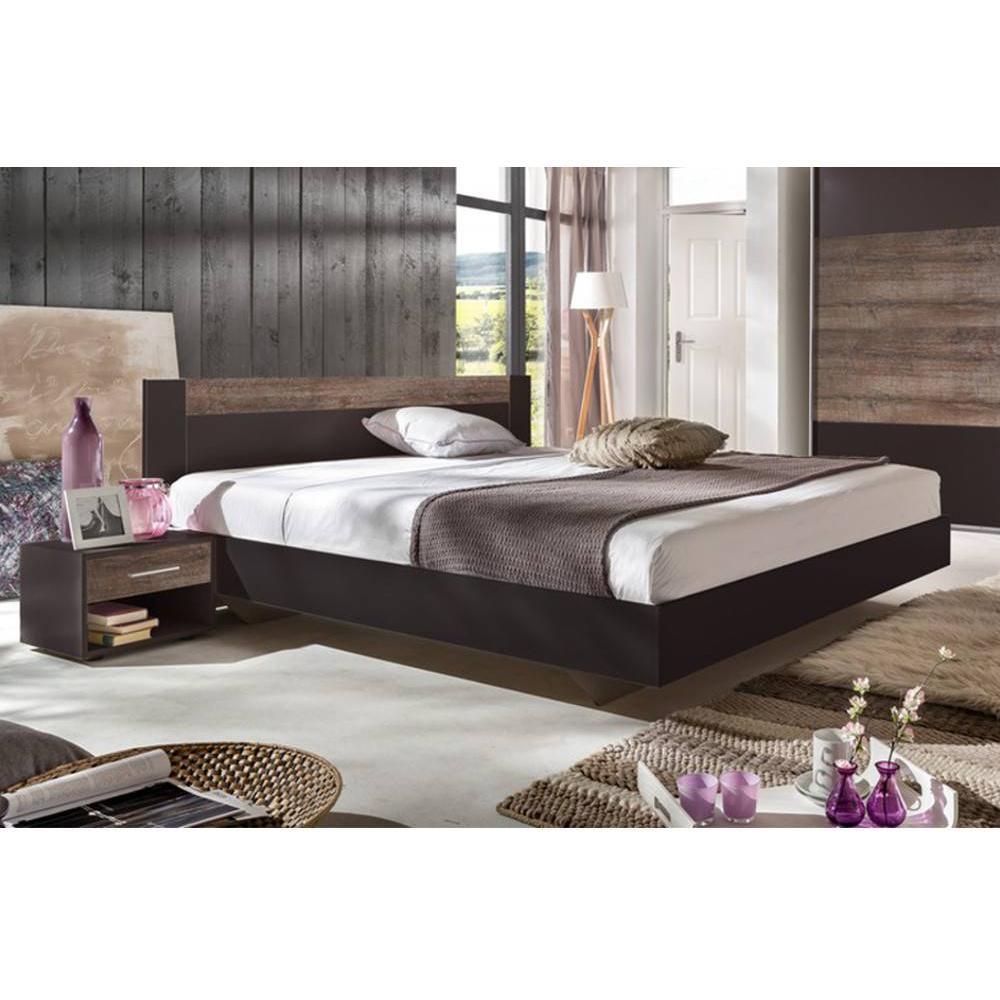 lits chambre literie lit thalia 180 200cm avec 2 chevets lave ch taigne inside75. Black Bedroom Furniture Sets. Home Design Ideas