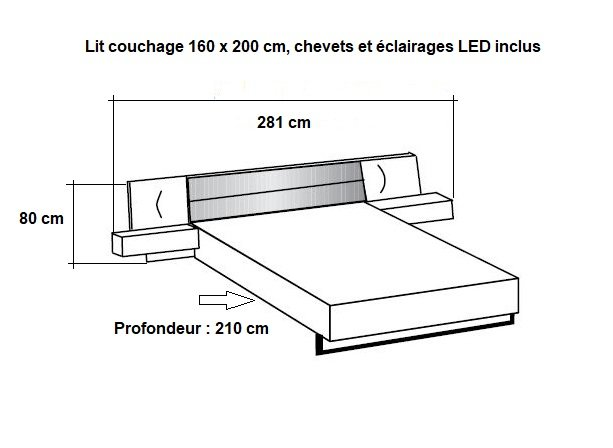 Lit chevets design VICK 160 x 200 cm chêne artisan tête cuir synthétique