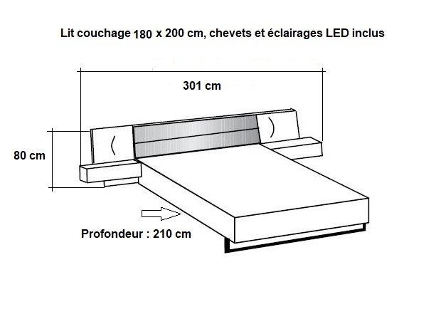 Lit chevets design VICK 180 x 200 cm chêne artisan tête cuir synthétique blanc