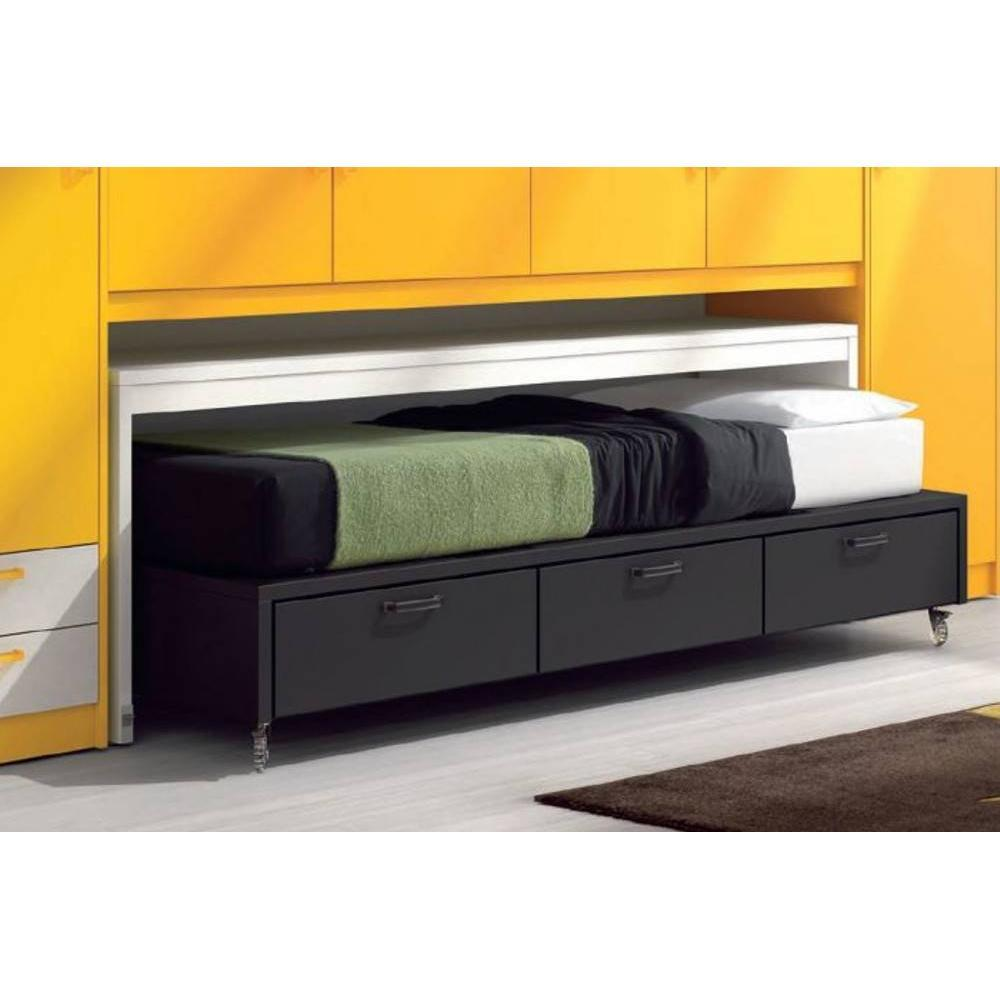Lits chambre literie lit compact bas willo roulettes for Lit 3 tiroirs