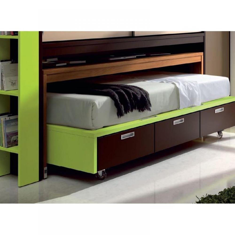 Lits tiroirs rangement chambre literie lit compact bas for Lit 3 tiroirs