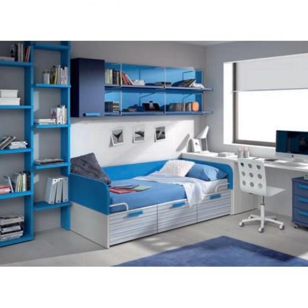 Lits tiroirs rangement chambre literie lit compact for Lit 3 tiroirs