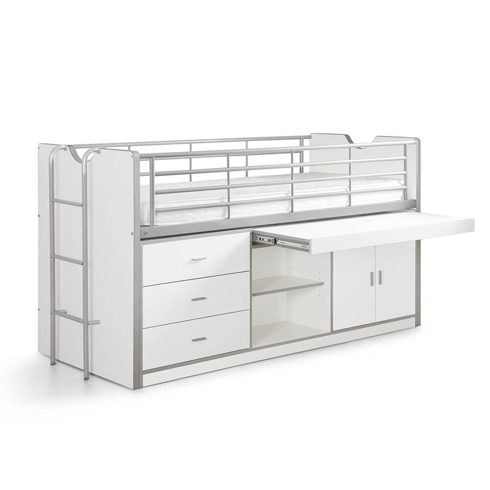 lits mi hauteur chambre literie lit combin kyle blanc avec bureau coulissant inside75. Black Bedroom Furniture Sets. Home Design Ideas